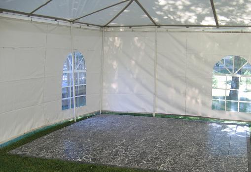 This is what the dance floor can look like inside a tent.